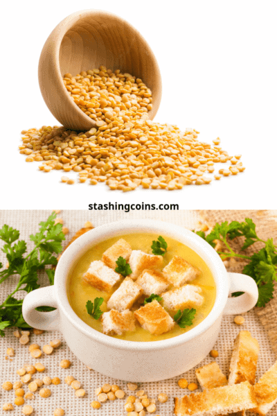 Quick budget spilt yellow pea soup with croutons