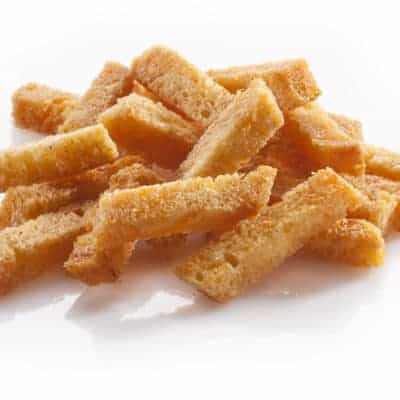 Croutons of bread isolated