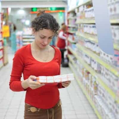 Woman shopping for generic hygiene supplies